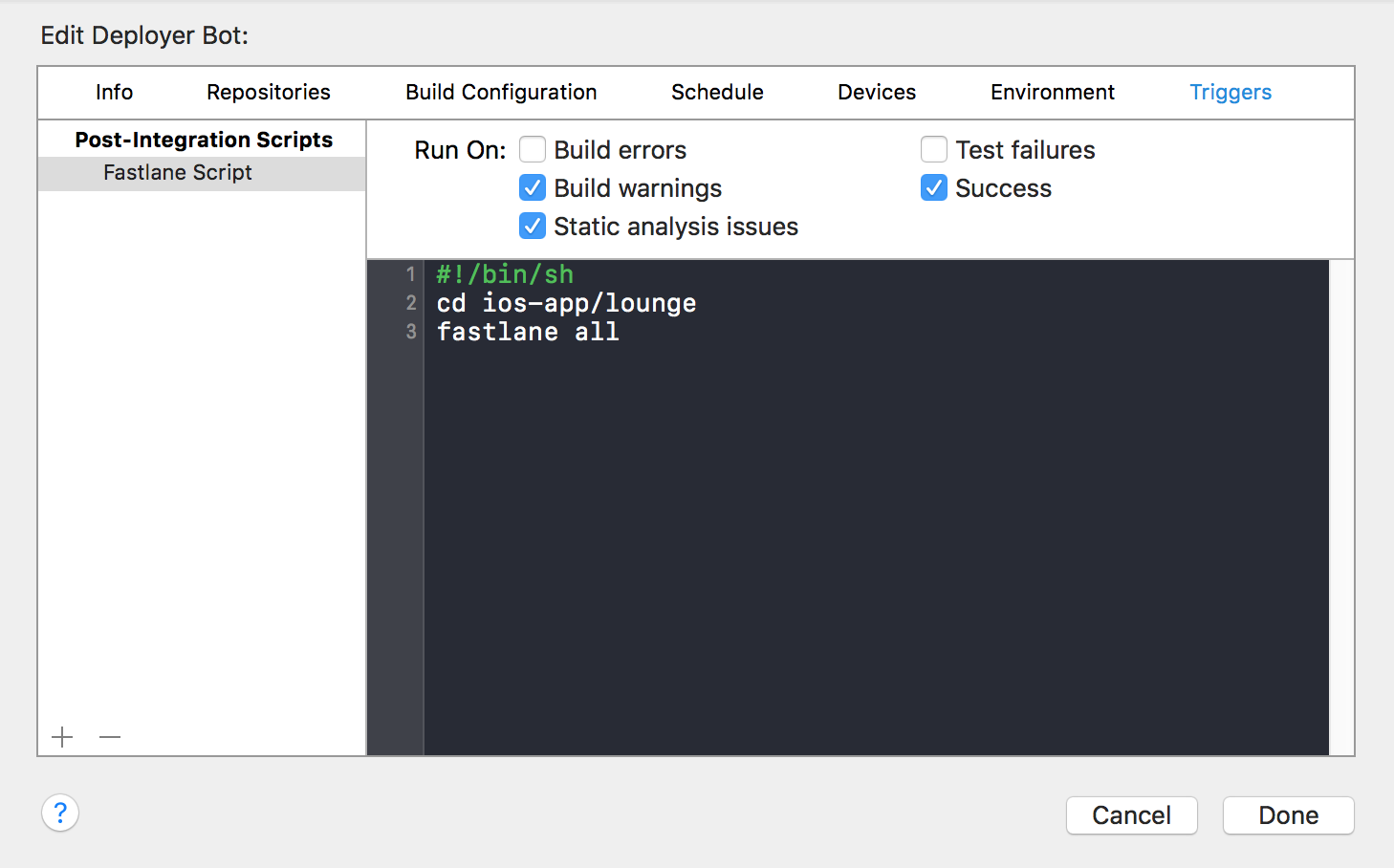 One-click deployments for iOS Apps using Xcode 8, macOS