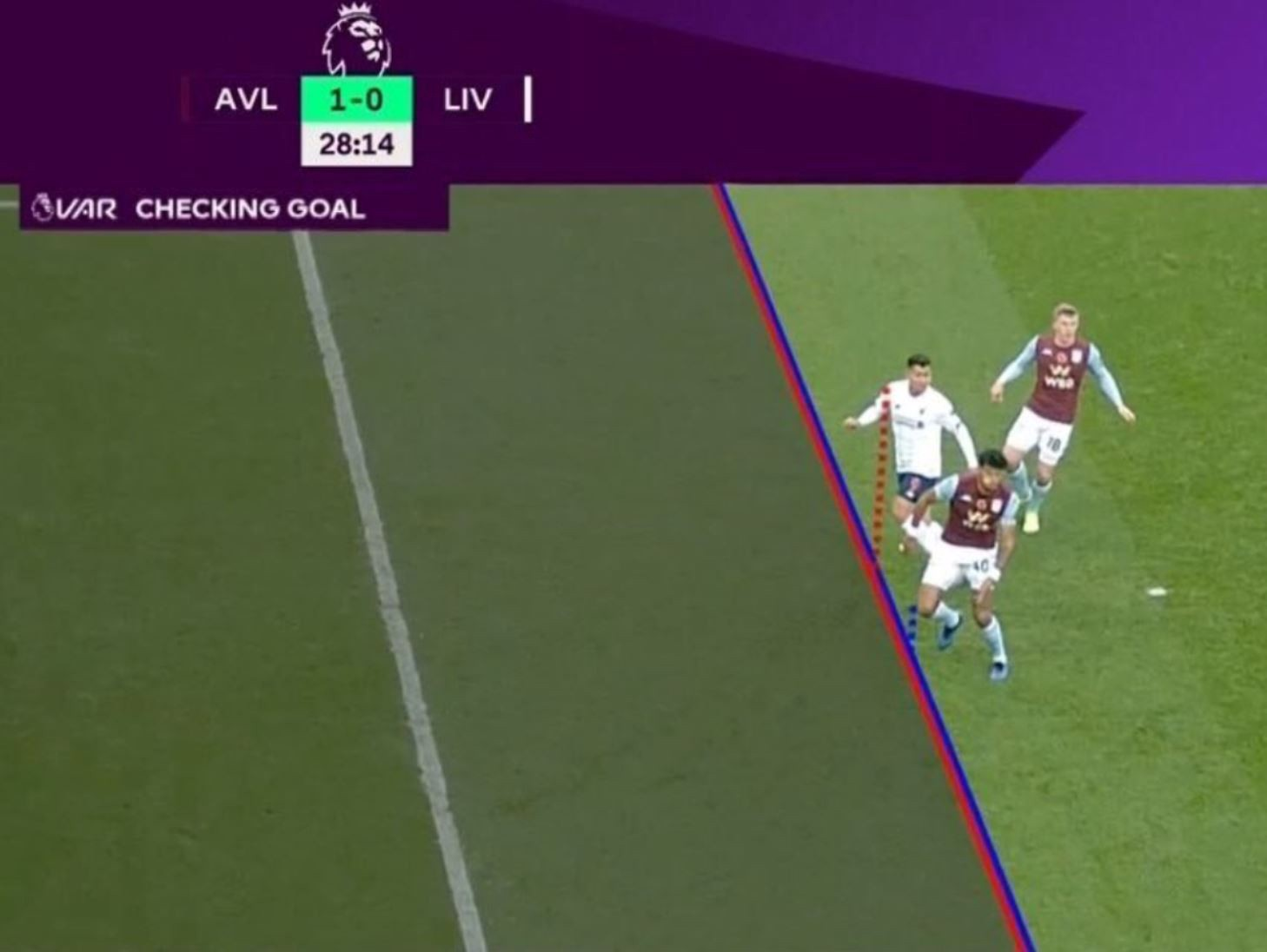 Tight offside decision decided by the position of a player's armpit, which is hidden in a loose shirt.