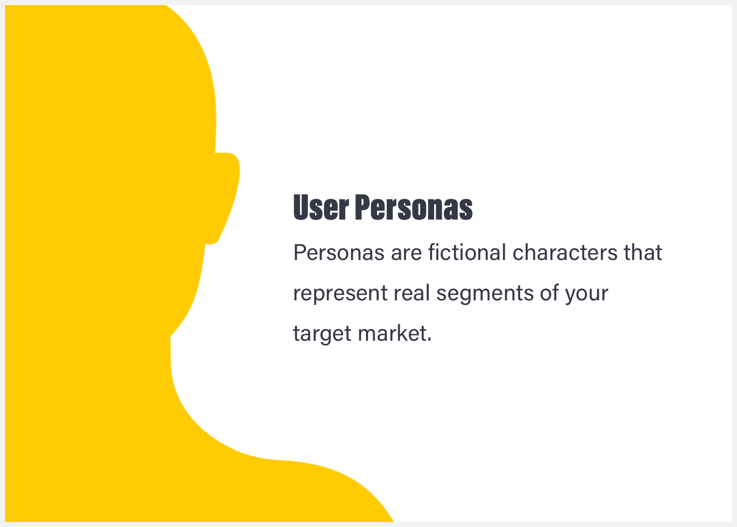 A yellow silhouette with the definition of a user persona.