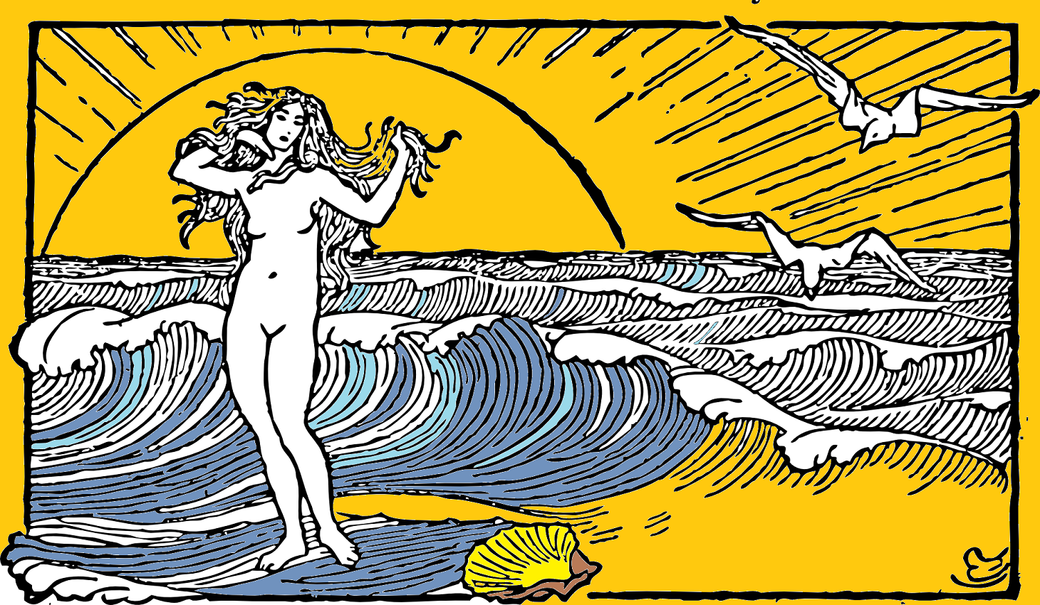 illustration of naked woman on a beach