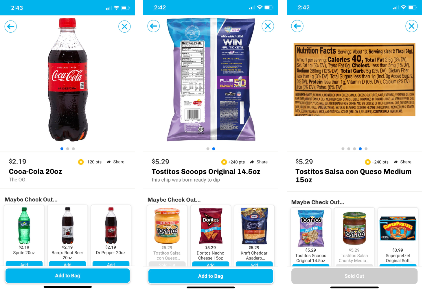 image comparing different product screens in the gopuff app