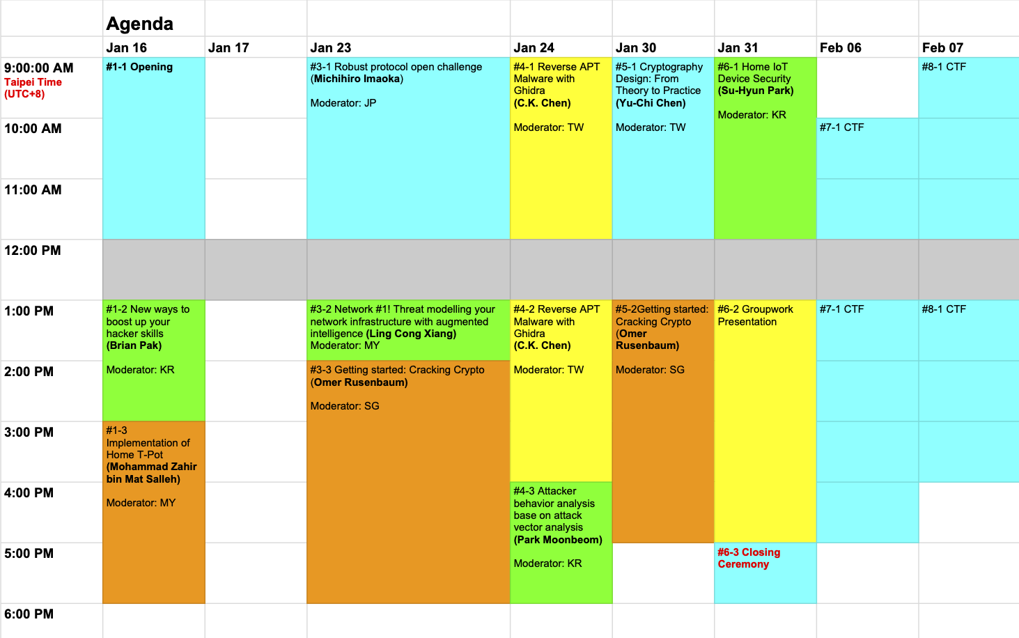 GCC 2021 Time Table