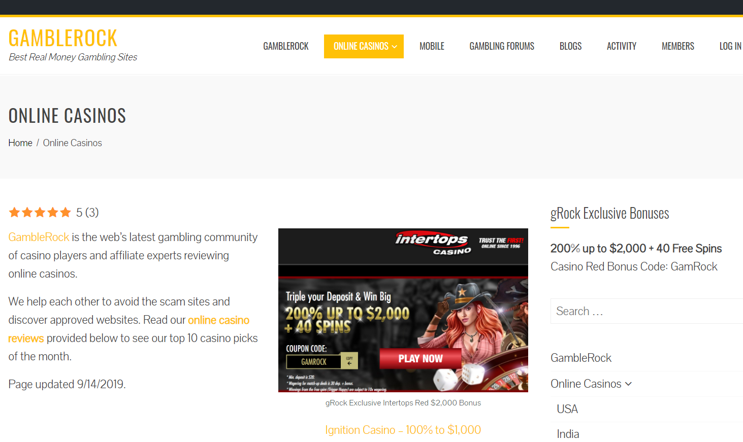 Gamble Rock Reviews The Top Online Casino Sites Worldwide By