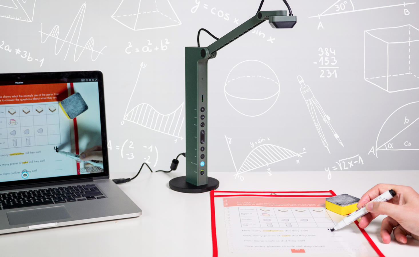 Using the pocket sleeve together with an IPEVO VZ-R document camera.