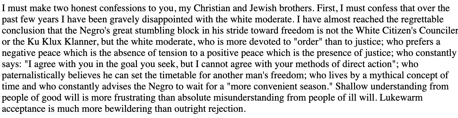 Letter from a Birmingham Jail Martin Luther King Jr. 1963