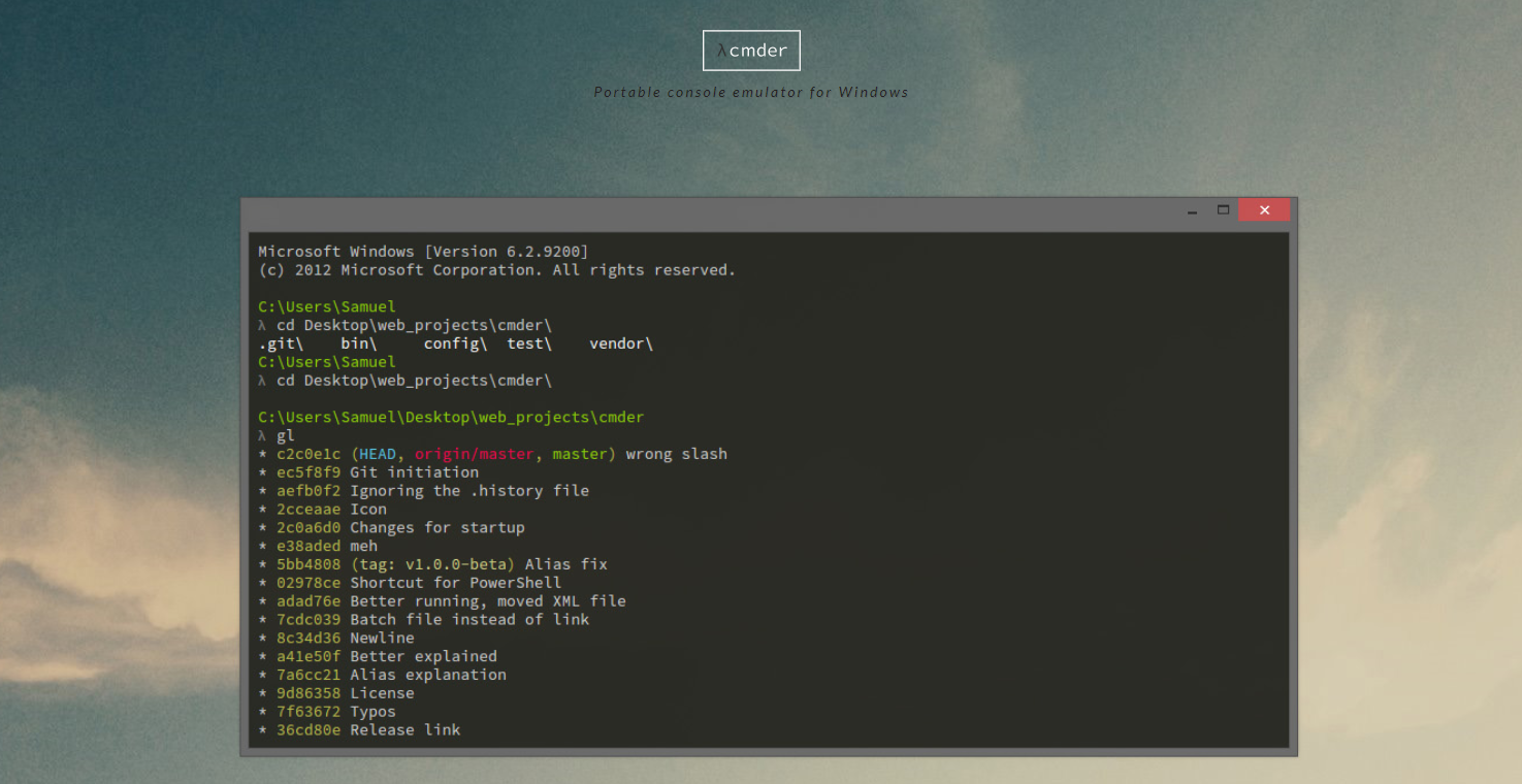 Installing cmder as an alternative windows command line tool