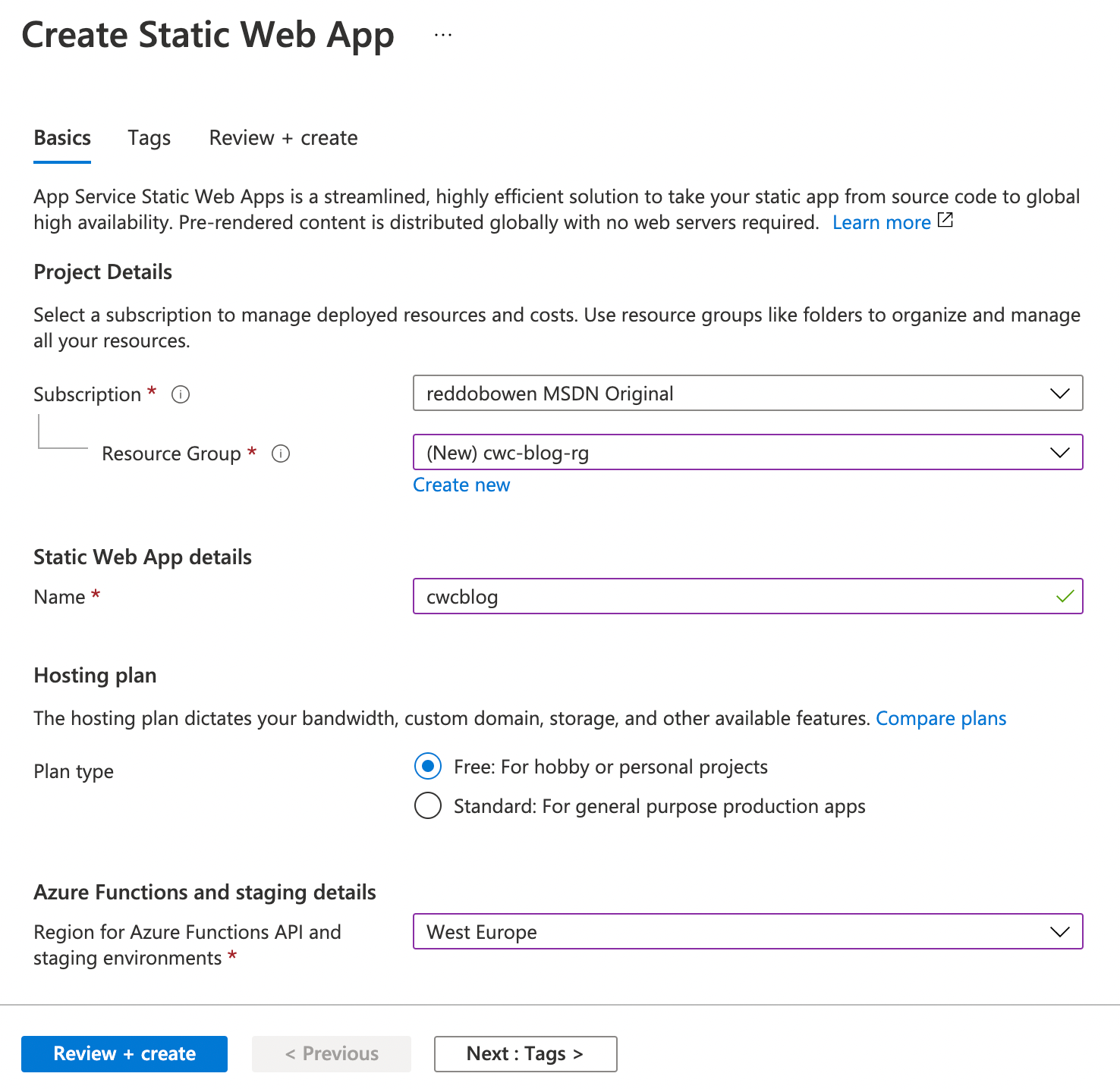 Screenshot of the Azure Static Web Apps creation process—part 1