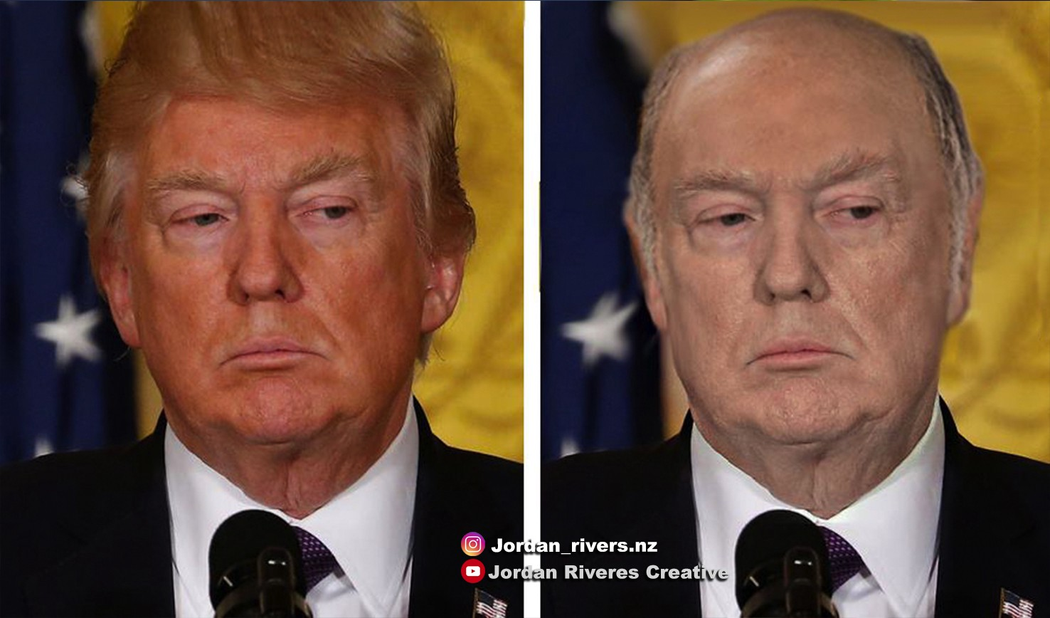 A modified picture of President Trump, edited to show him without spray tan or combover hair.