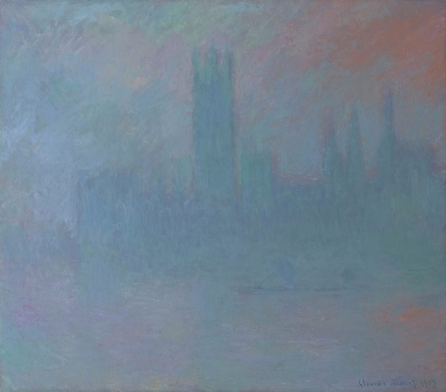 Impressionist landscape painting by Monet showing a large building obscured by colorful fog.