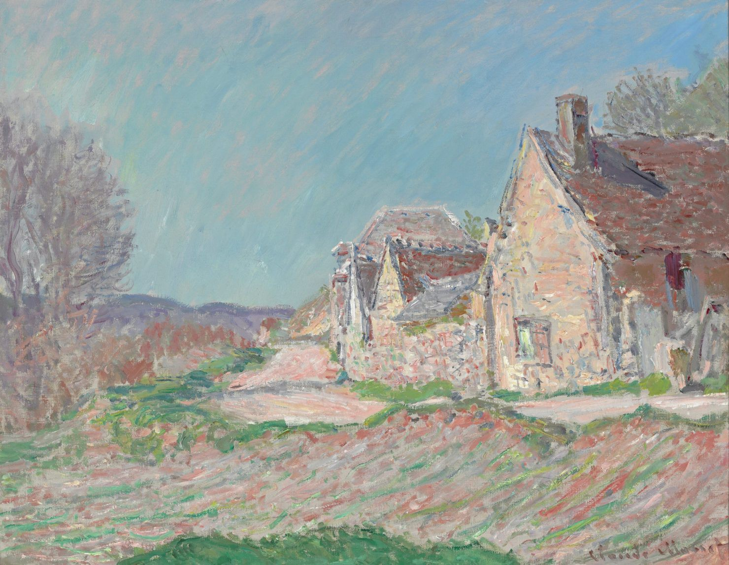 Impressionist landscape painting by Monet showing charming houses along a country road.