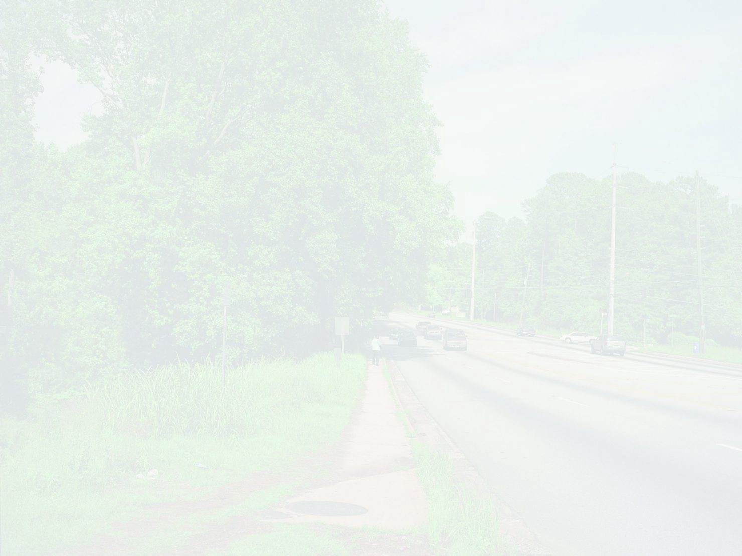 A road lined by trees and grass is barely visible through the hazy whiteness of the exposure of the photograph.