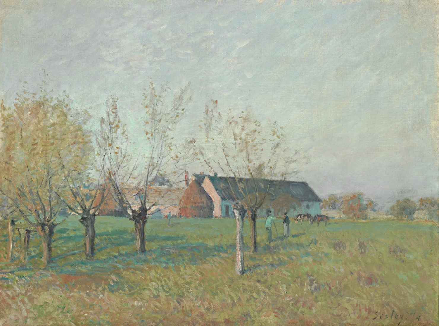 Impressionist landscape painting by Sisley showing an autumn morning on an orchard.