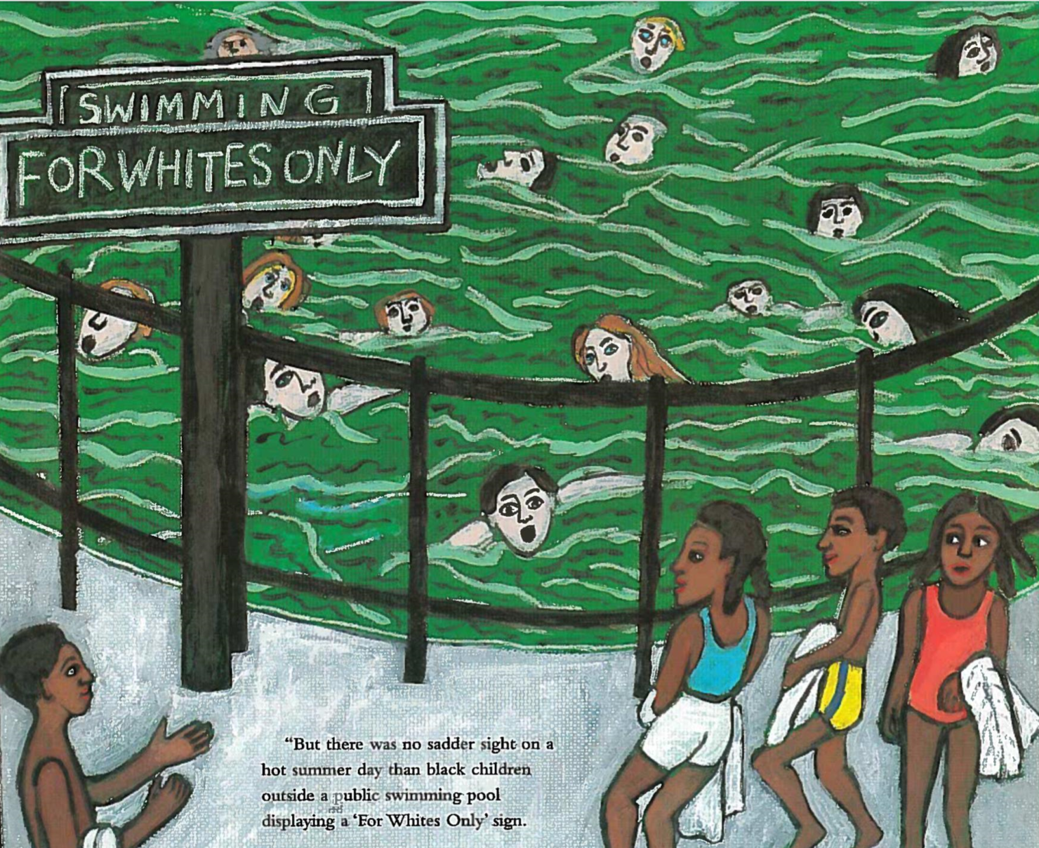 "Black children look at each other next to a pool marked ""Swimming for whites only."""