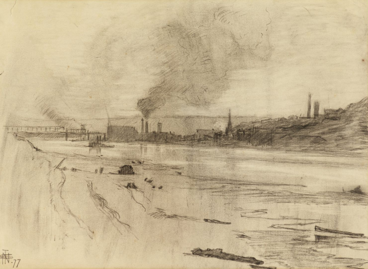 A pencil and charcoal drawing of a river lined with smoke stacks and buildings.