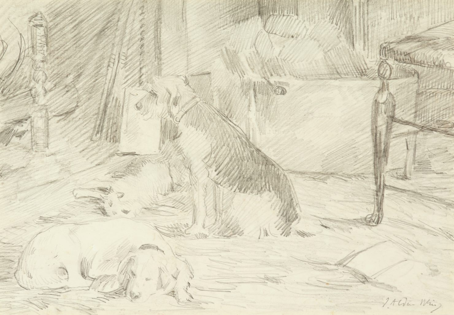 A pencil drawing of dogs relaxing by a hearth and chair.