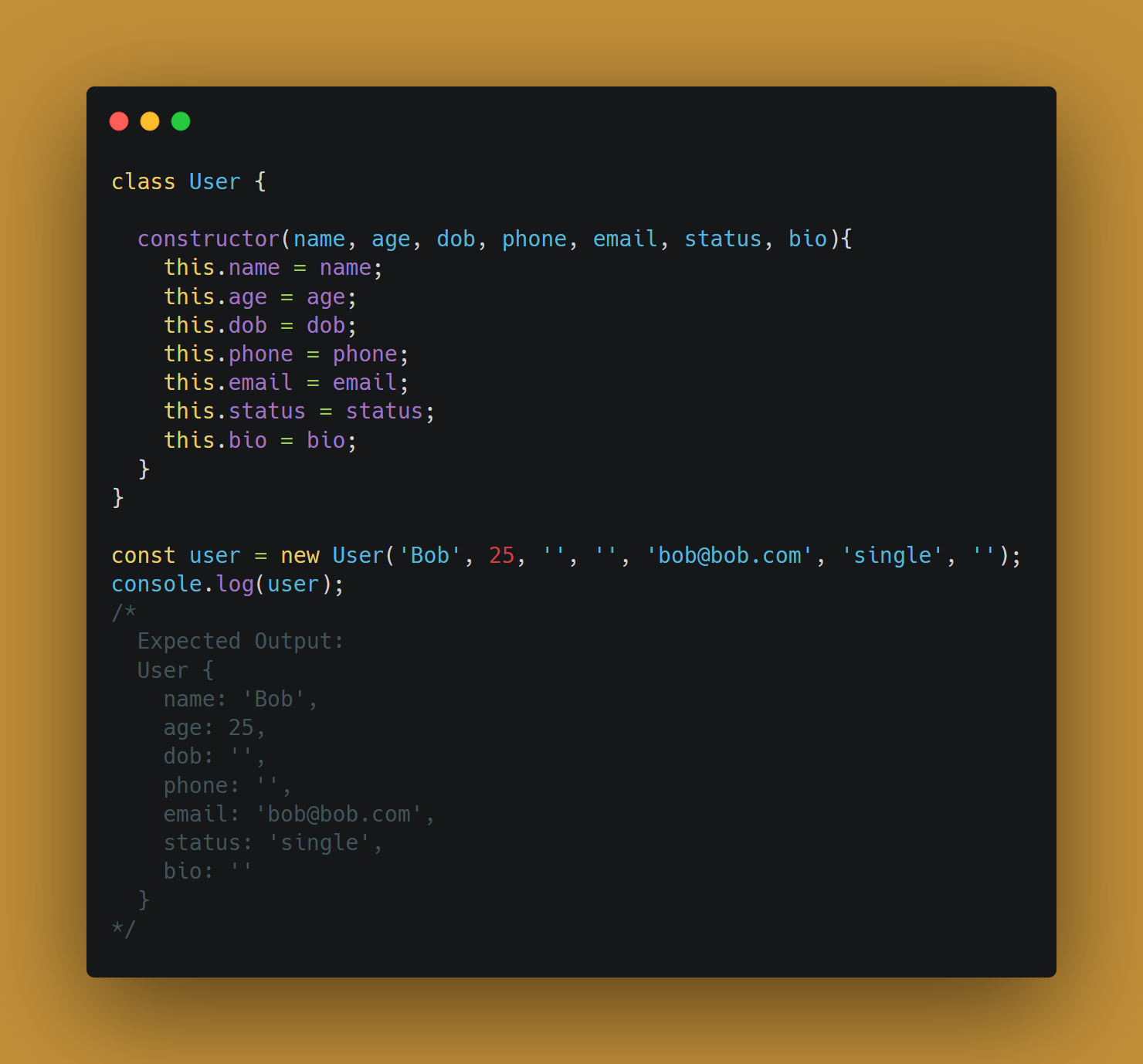Example of constructing a complex object without the builder design pattern in JavaScript