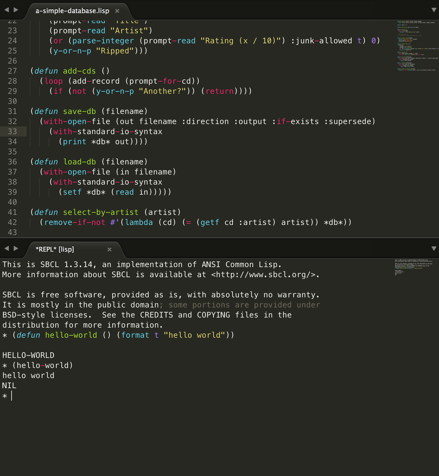Getting Started with Lisp on macOS in Sublime Text 3