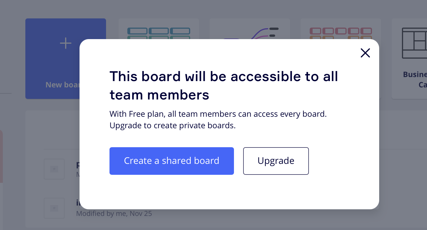 screenshot of pop-up explaining that you need to upgrade for private boards