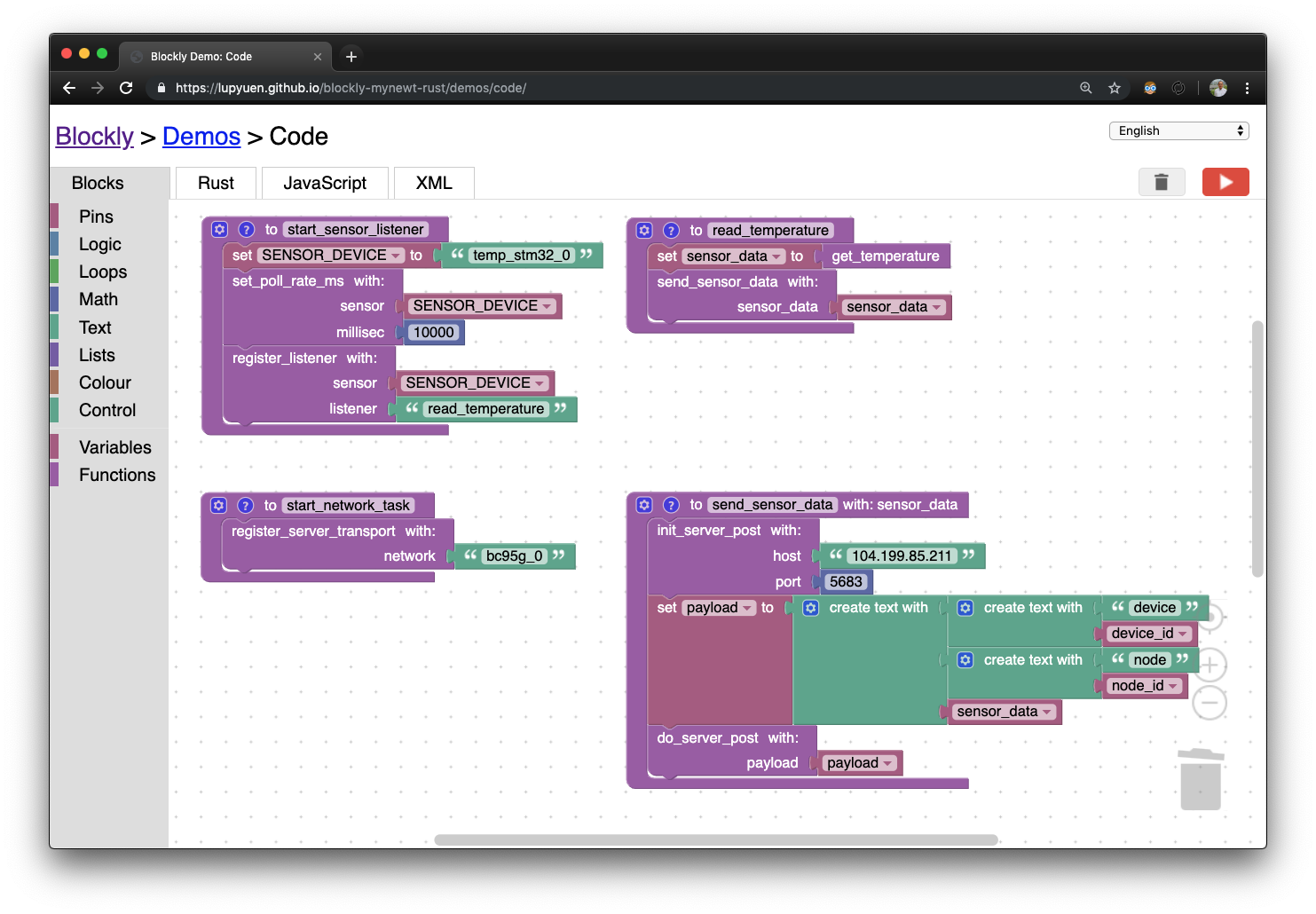 Visual Programming with Embedded Rust? Yes we can with Apache Mynewt