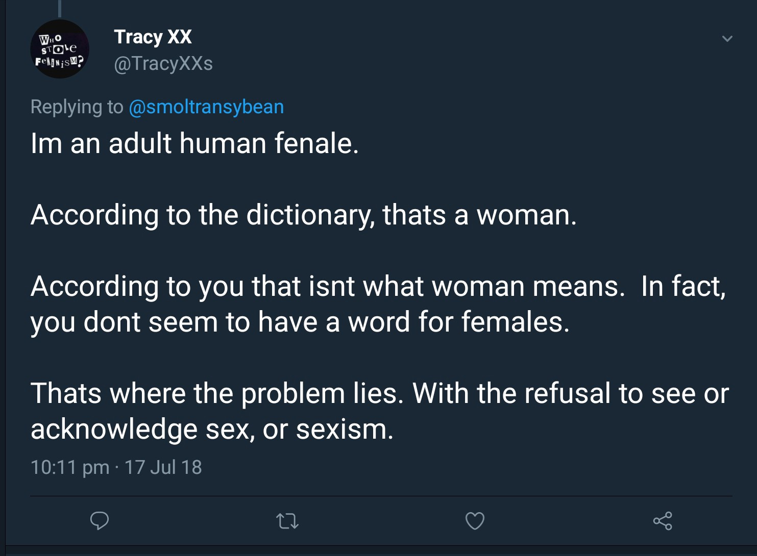 """woman = adult human female! My dictionary says so """""""