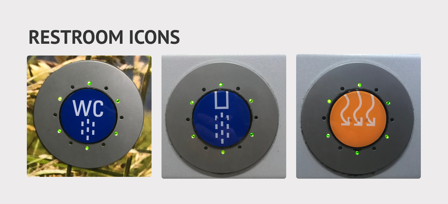 Toilet/restroom icons including sink and hand dryer buttons.