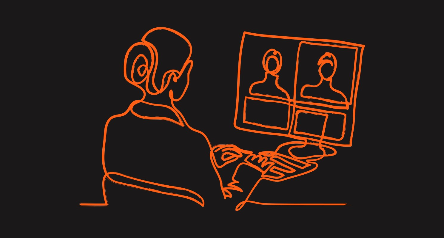 Single line drawing in orange on black background of person in front of computer with 2 video participants on a laptop screen