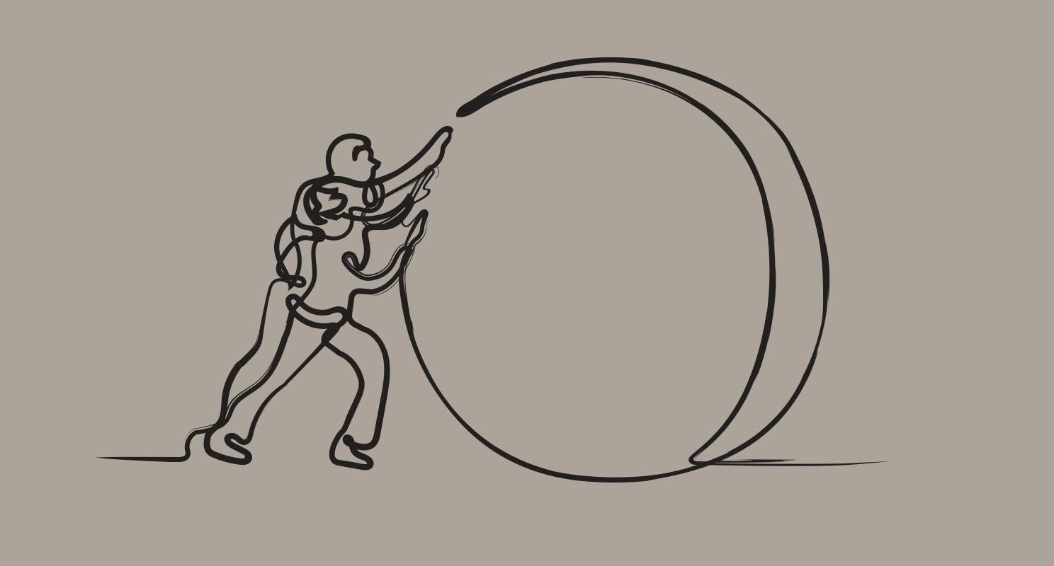 Taupe background with single line drawing in black of two people pushing a large ball forward together.