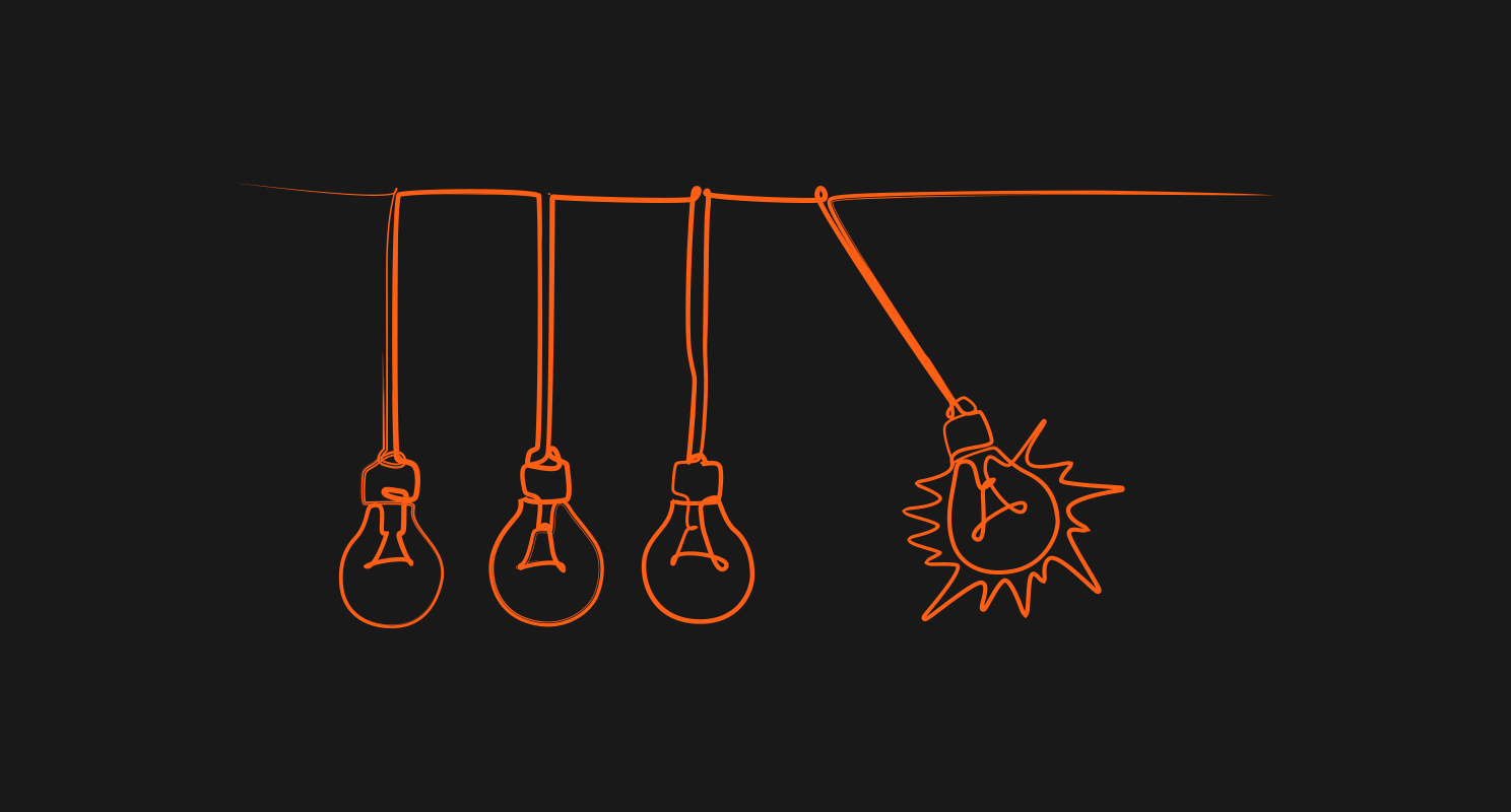 black background with orange line drawing of 4 light bulbs hanging from strings with the 4th one lit up to represent idea