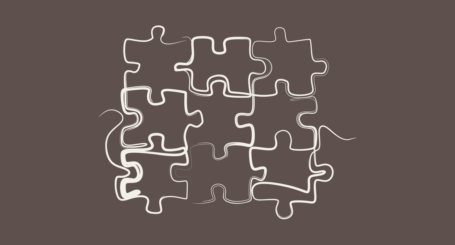 Single line drawing in white marker of 9 jigsaw puzzle pieces fit together on taupe background