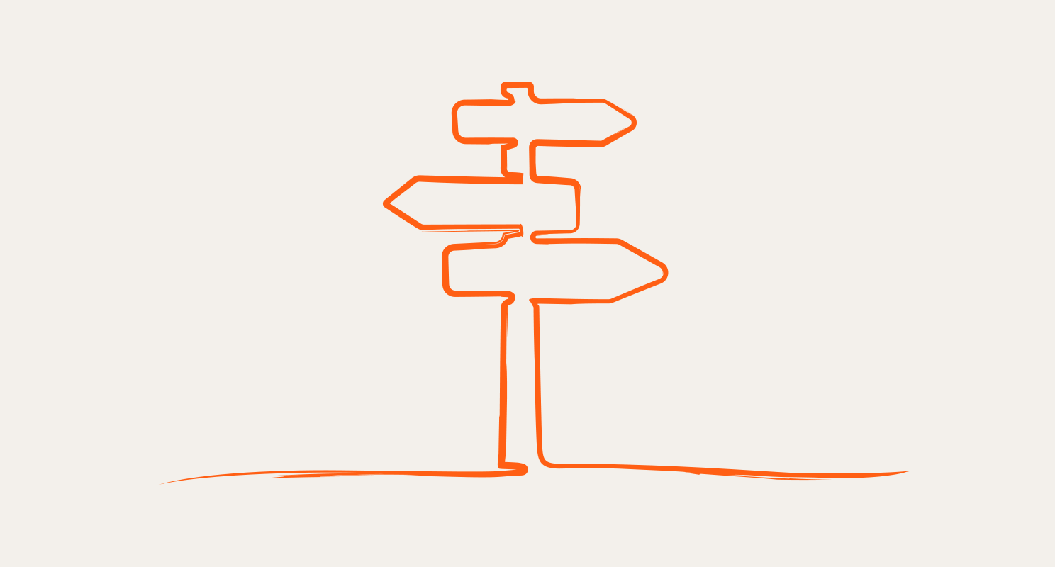 Single line drawing in orange of 3 road signs pointing in opposite directions