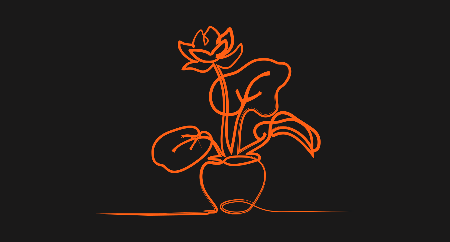 Single line drawing in orange marker of a single flower with large leaves in a small pot on a black background