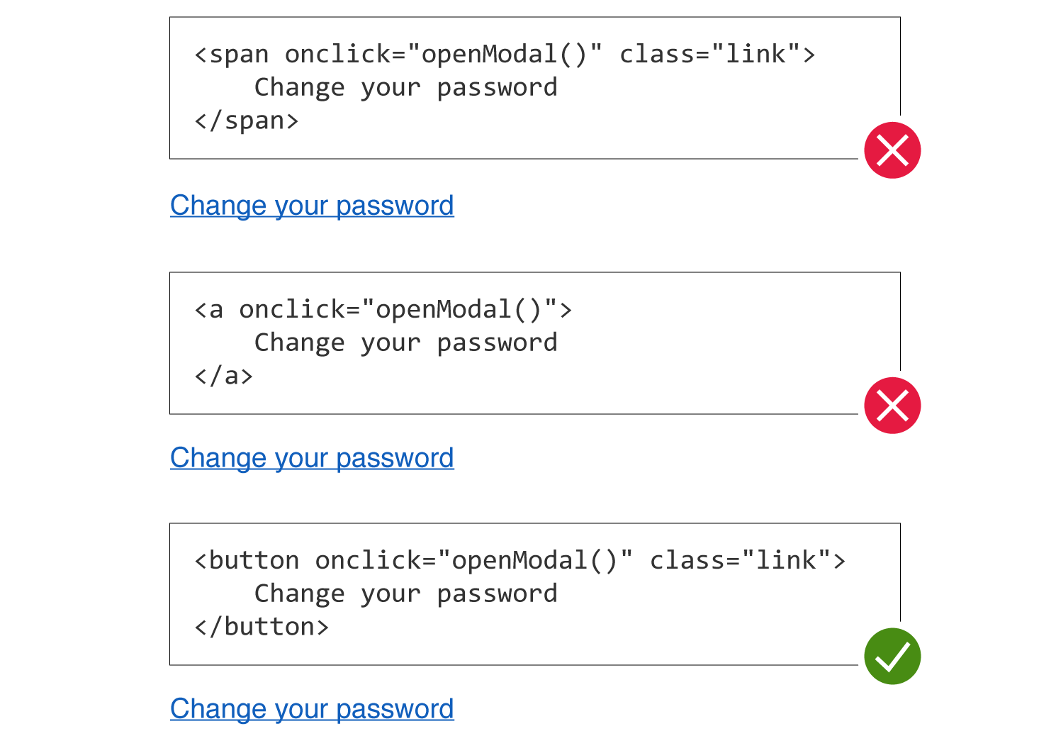 Screenshot of anti-pattern usage of span and anchor tags plus alternative solution of using a button.