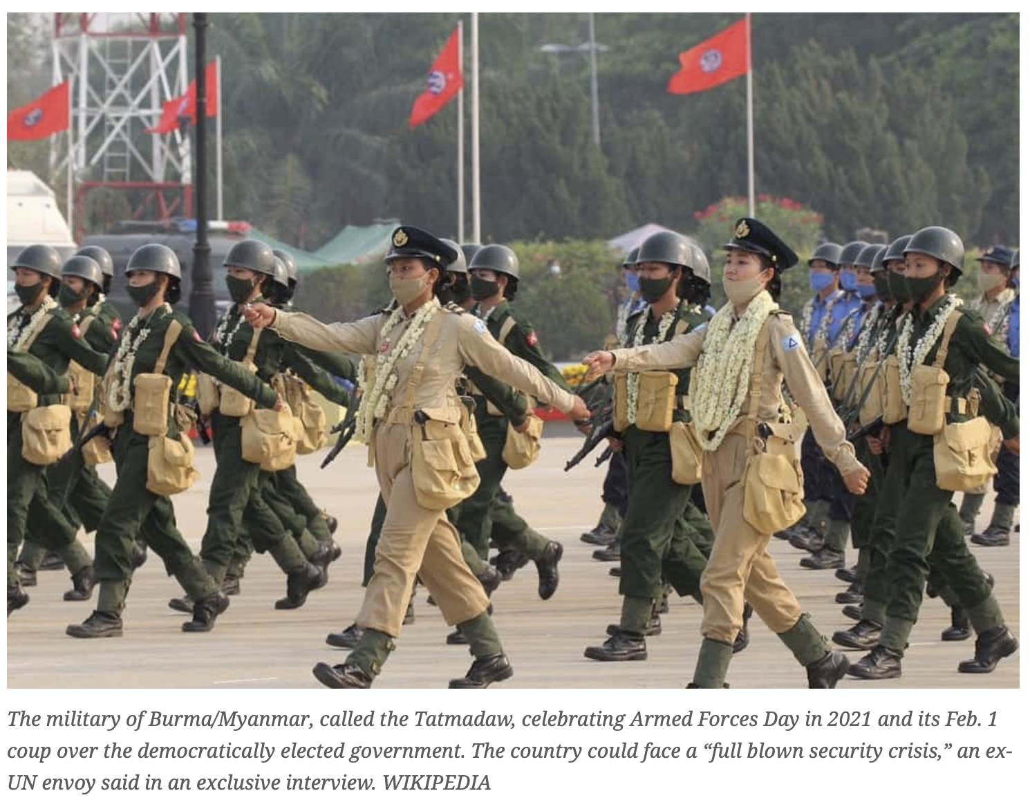 The military of Burma/Myanmar, called the Tatmadaw, celebrating Armed Forces Day in 2021 and its Feb. 1 coup over the democratically elected government. WIKIPEDIA
