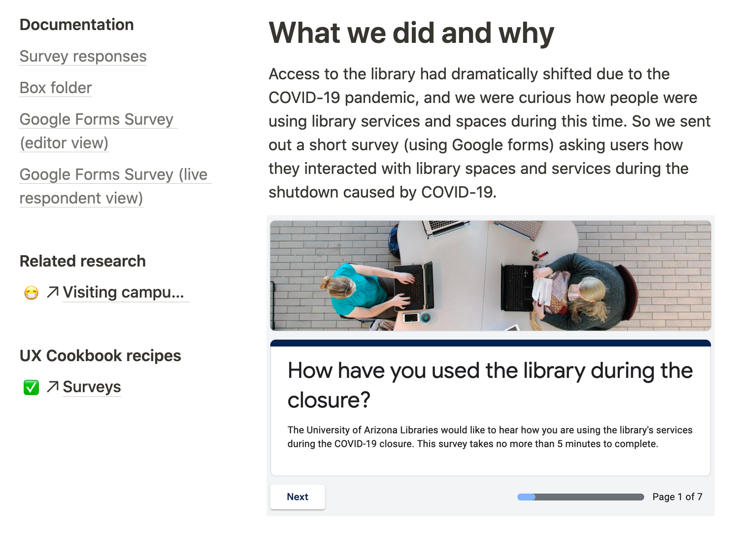 """Screenshot of web page with sidebar of links and """"What we did and why"""" section, plus a screenshot of the survey itself"""