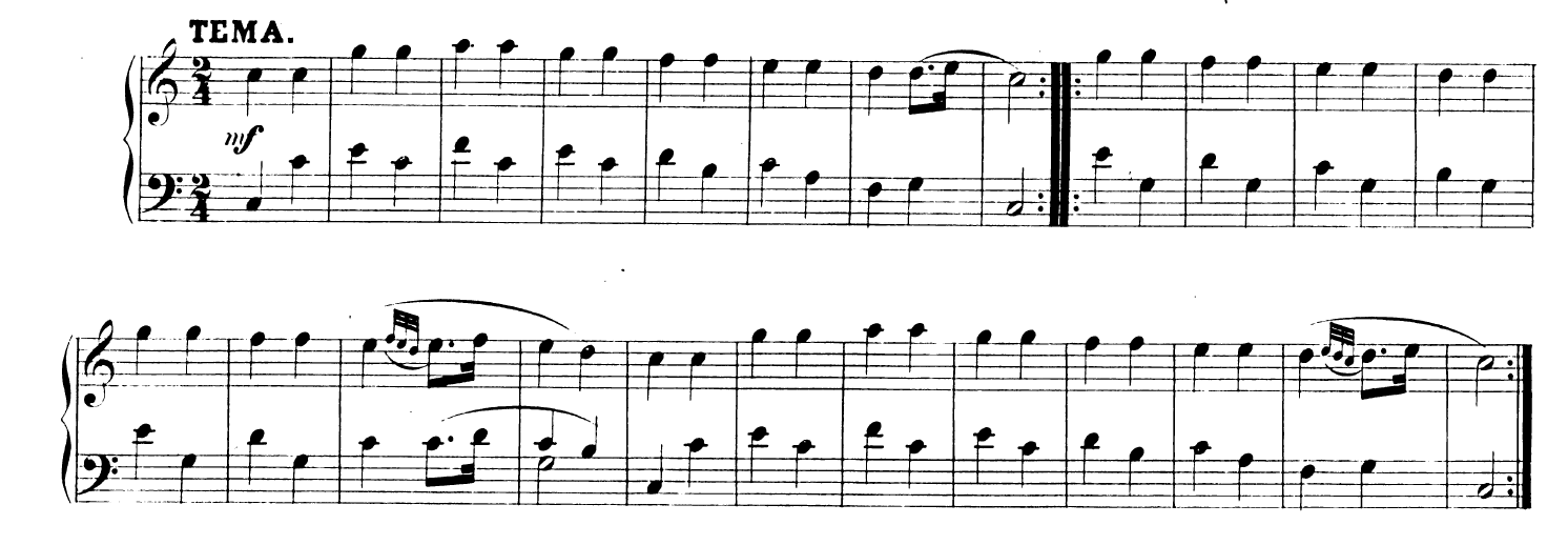 """Sheet music for """"12 Variations on a French Nursery Theme"""" by Mozart, the basis for Twinkle Twinkle Little Star et al."""