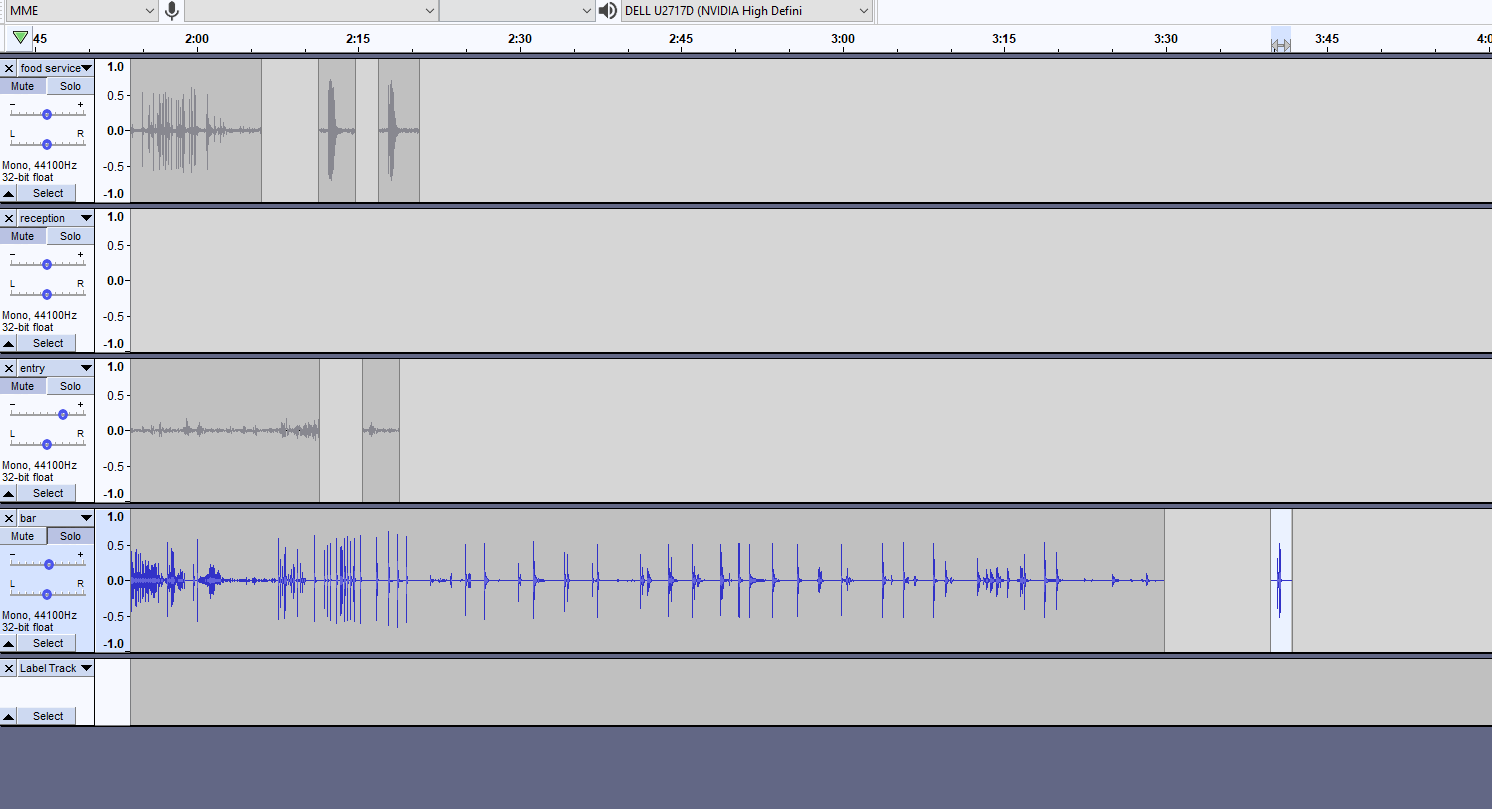 Audacity session that shows several audio tracks