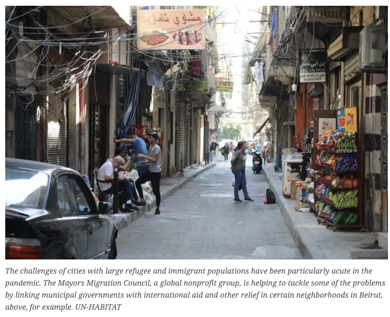 A Beirut street in a migrant neighborhood