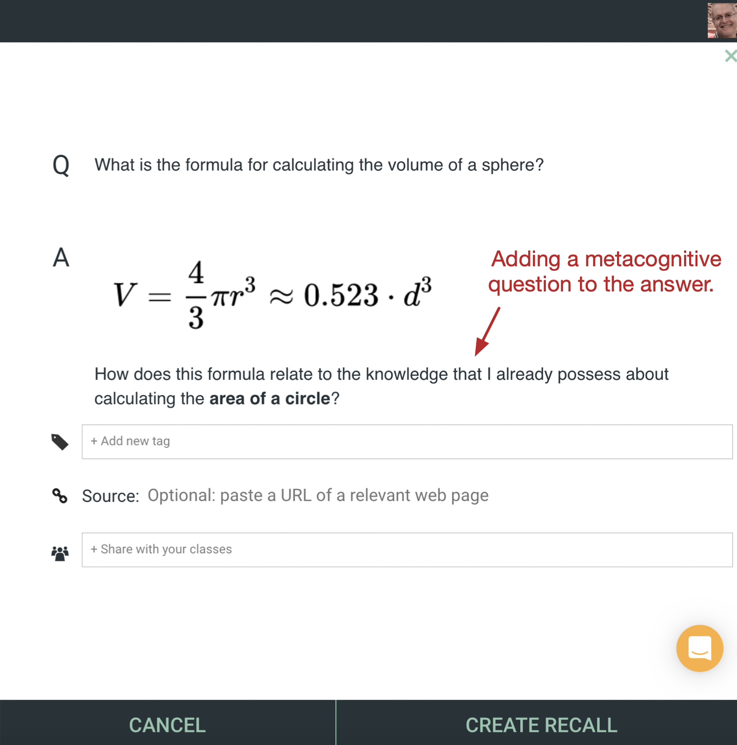 Image from the iDoRecall.com user interface depicting the use of a metacognitive question in the answer of a flashcard,