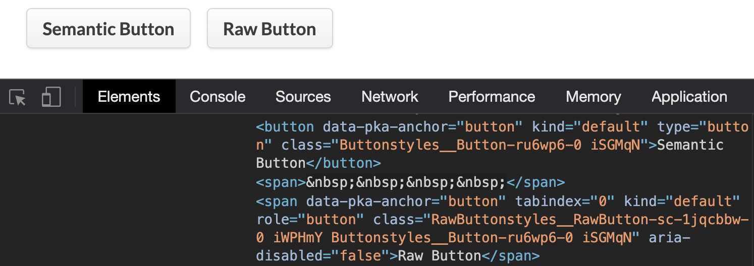 Screenshot of a semantic button and a raw button side-by-side with source code showing the underlying HTML markup.