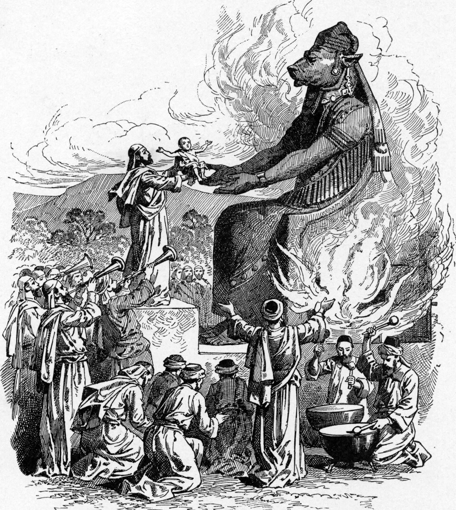 A black and white illustration of people offering a baby as a sacrifice to a bulheaded burning idol.