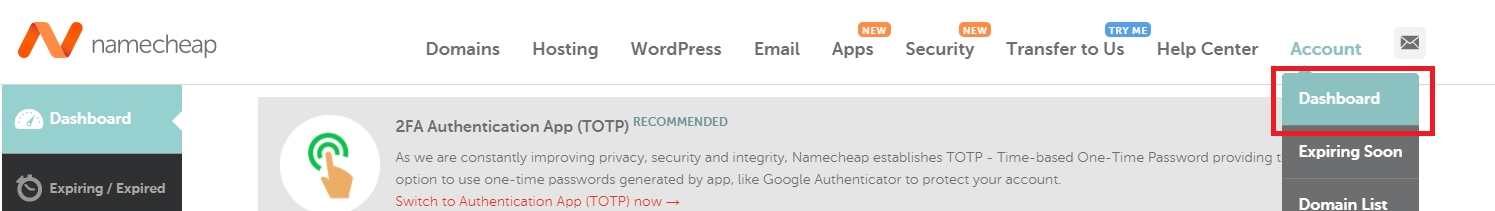 Go to Namecheap dashboard for self-hosted Ghost