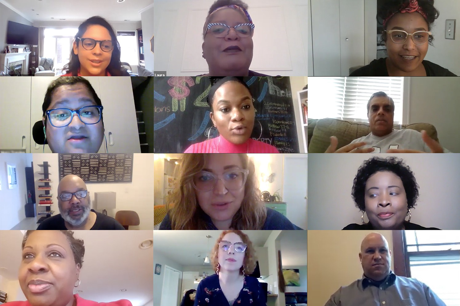Screenshots of 12 Fellows during the virtual retreat video conference.