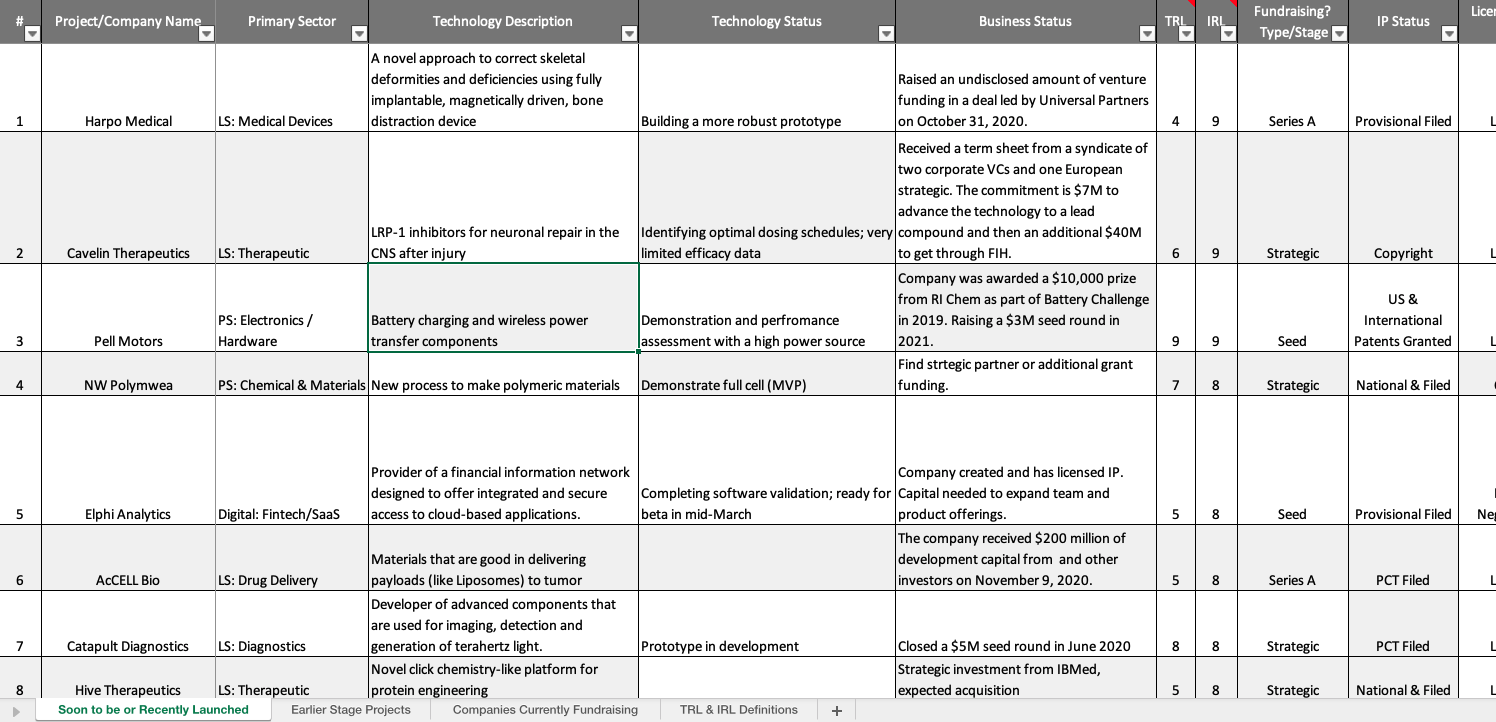 A preview of the U-M pipeline report template.Please note: All information in the spreadsheet is fictional.