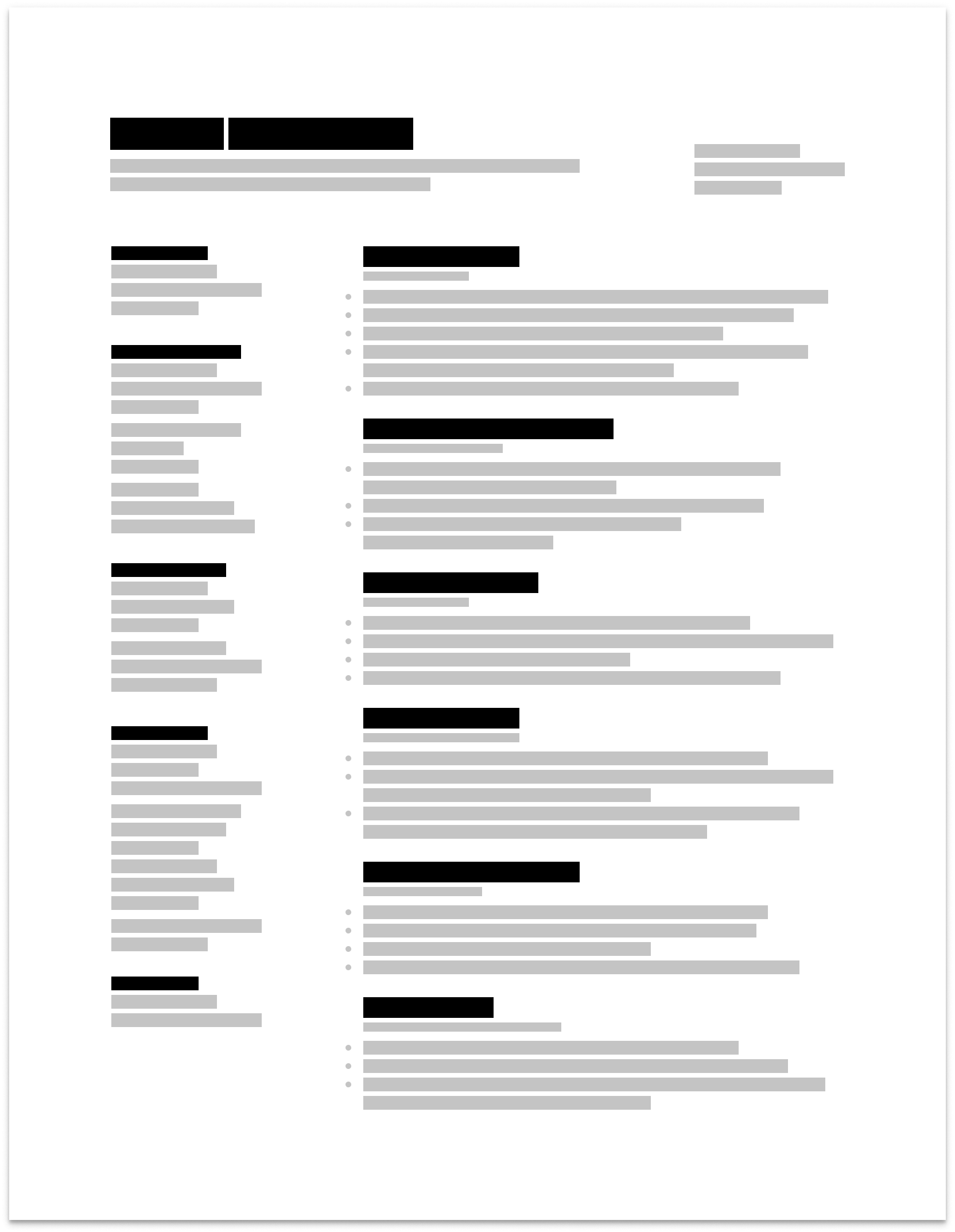 Wireframe of a resume