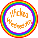 "A rainbow circle surrounding the words ""Wicked Wednesday"""