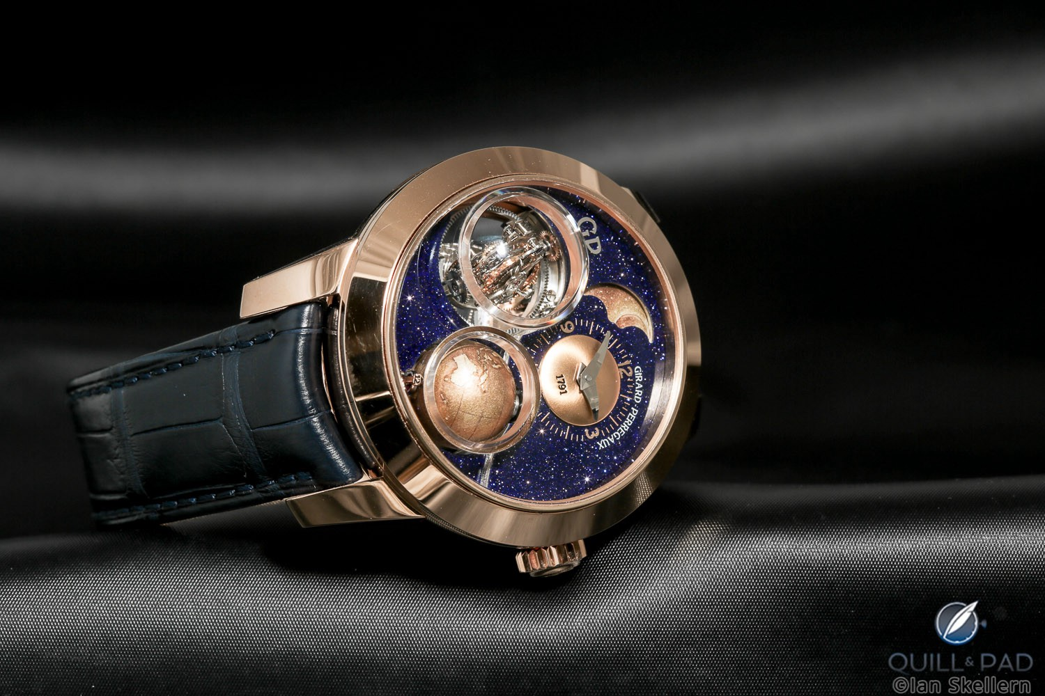 Girard-Perregaux introduced an aventurine-outfitted edition of its complicated Planetarium Tri-Axial at SIHH 2018
