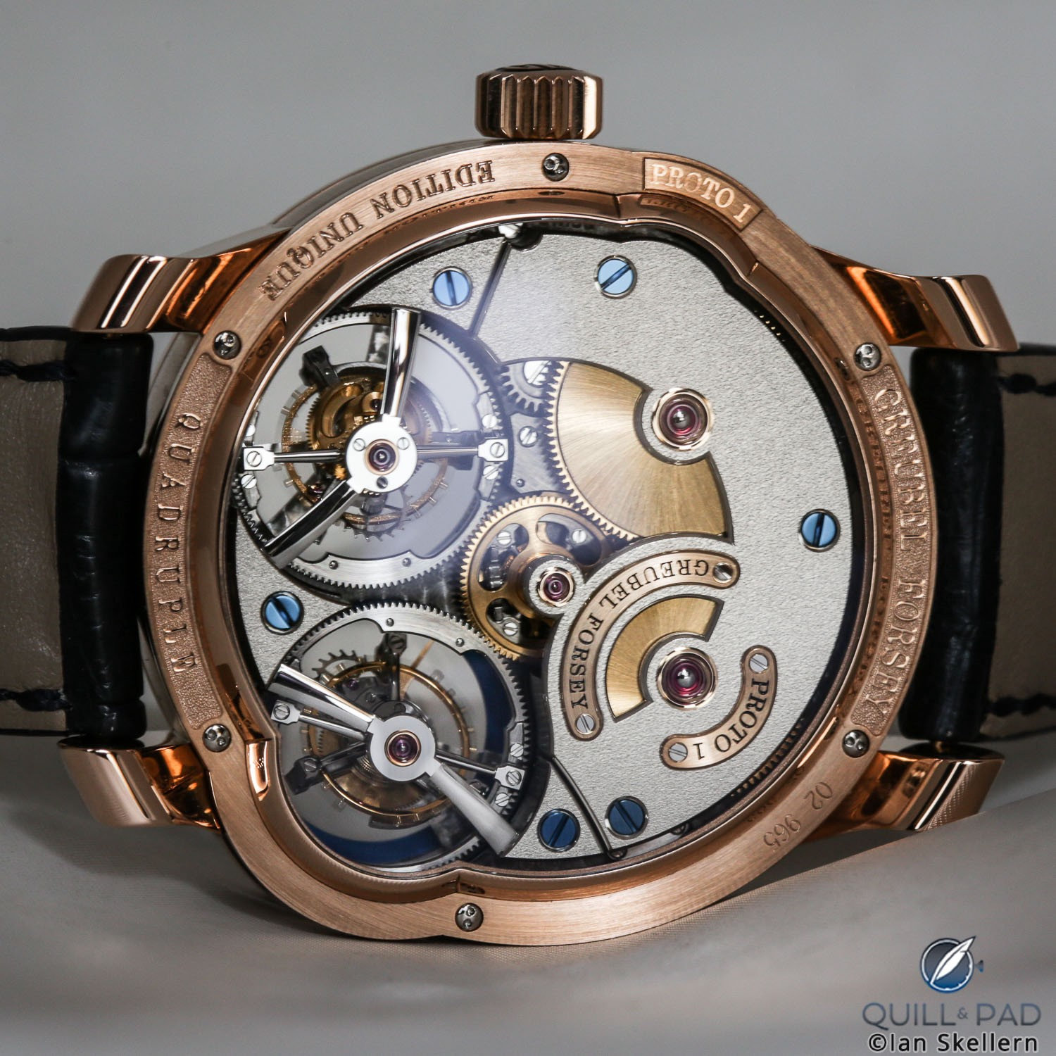 View through the display back of the Greubel Forsey Quadruple Tourbillon Blue