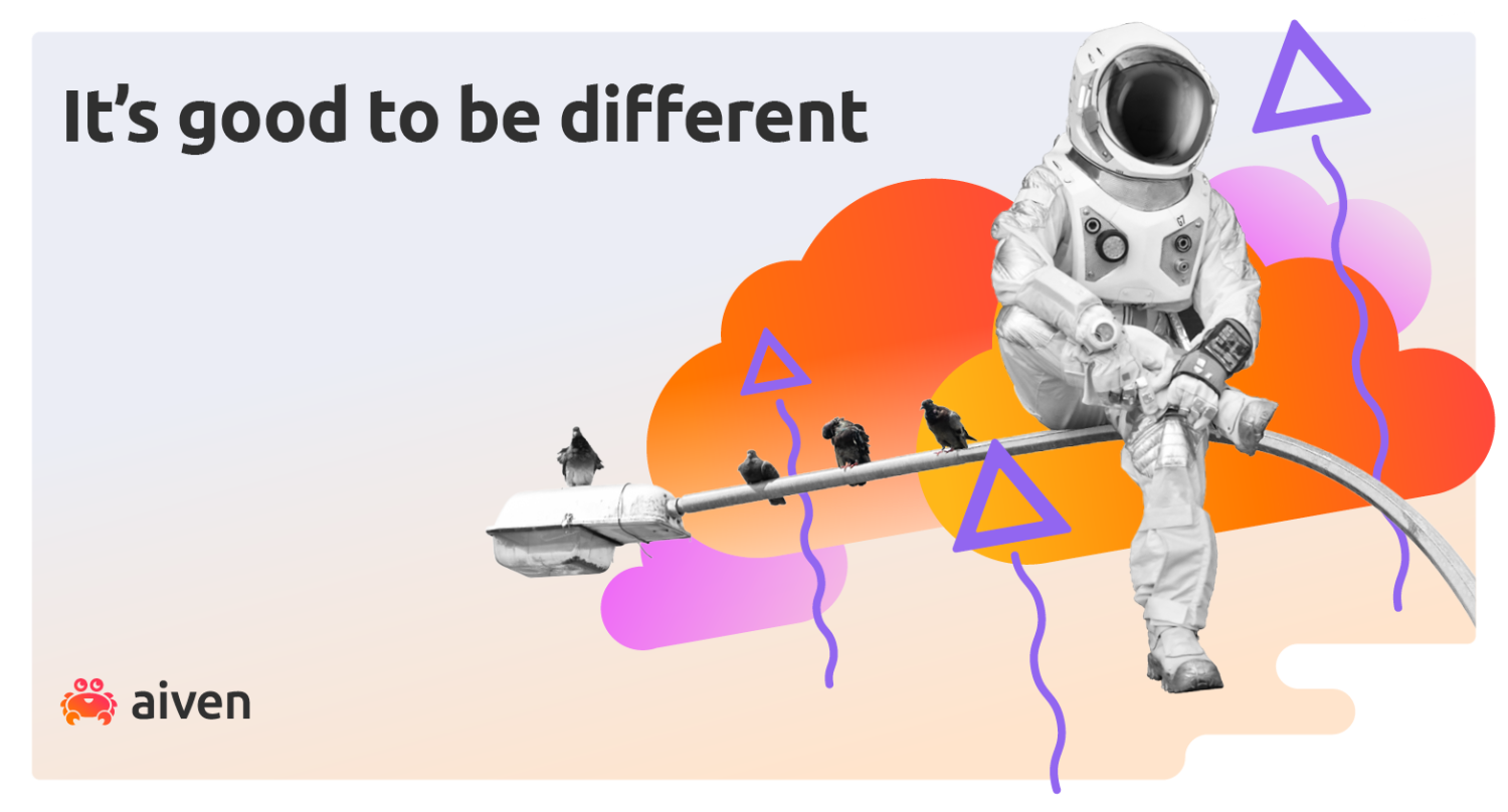 An astronaut is the odd one out among the pigeons sitting on a lamppost. The question is, is Kafka a database?