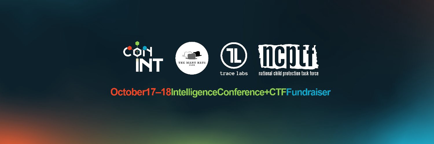 Logos for conINT, The Many Hats Club, Trace Labs, and NCPTF