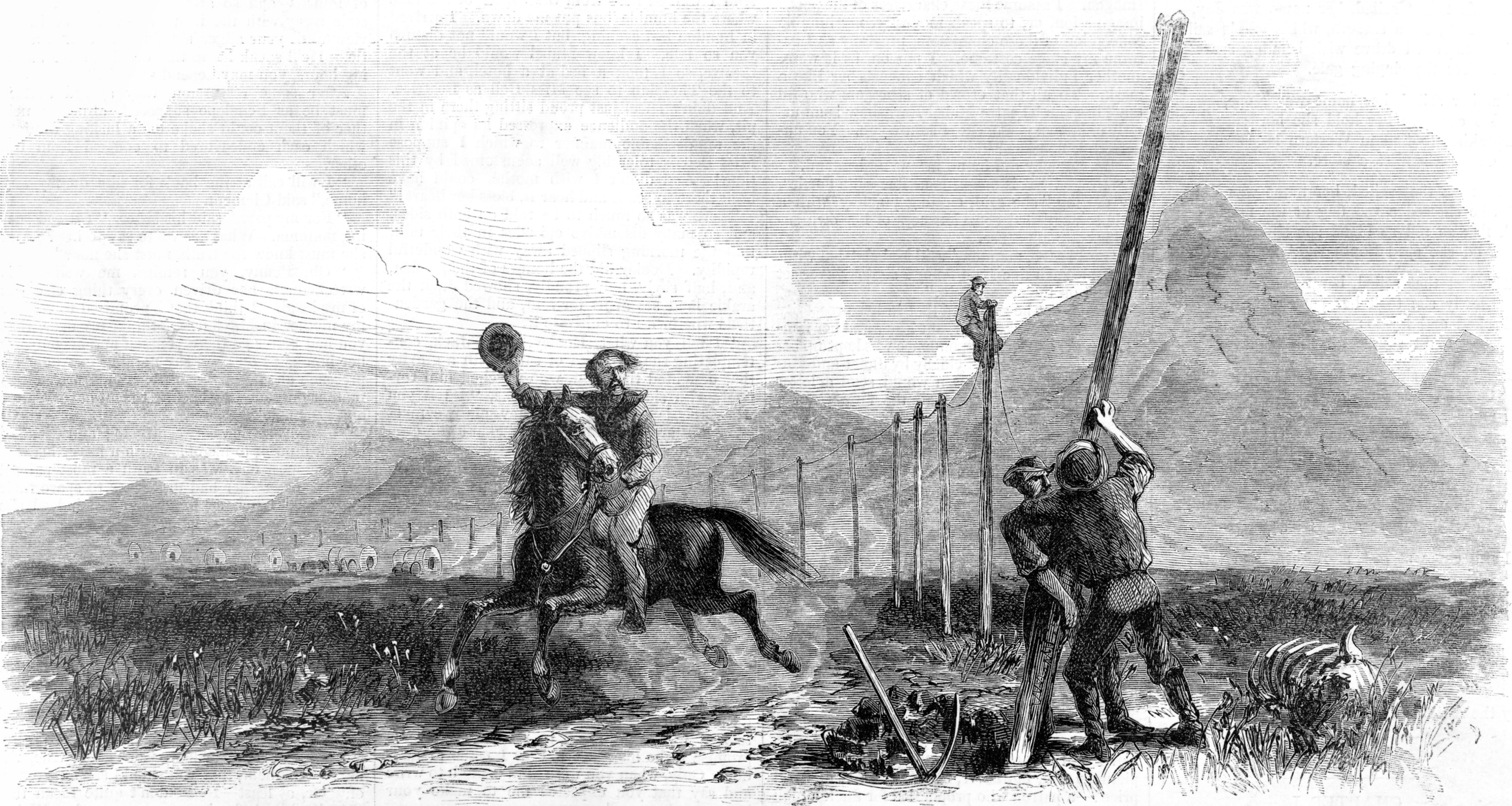 Putting in posts for an early telegraph line
